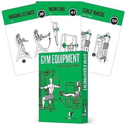 NewMe Fitness Gym Equipment - Juego de 62 Tarjetas de Ejercicio ...