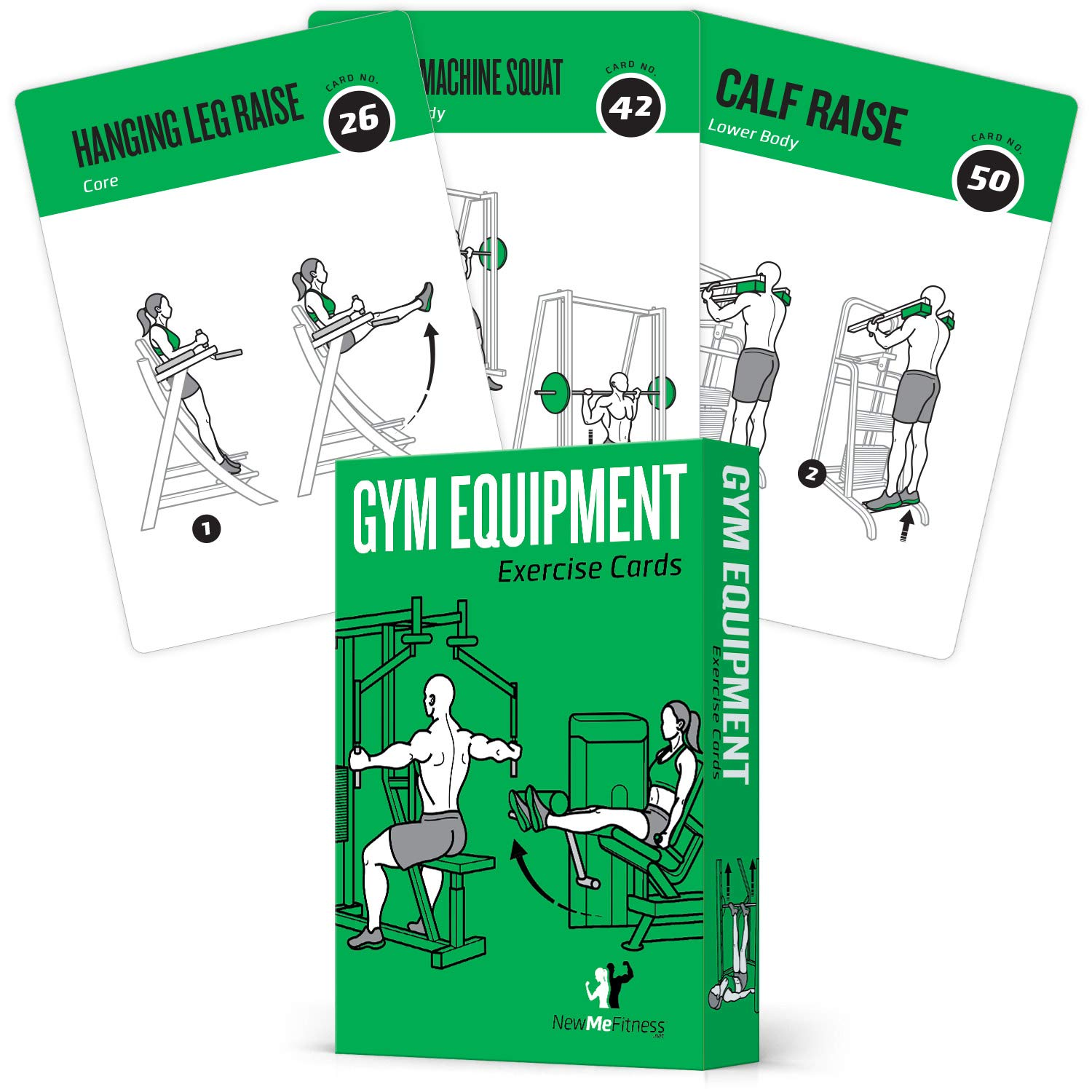 Gym Equipment Exercise Cards, Set of 62 – Guided Workouts for Strength & Cardio :: Illustrated Fitness Cards with 50…