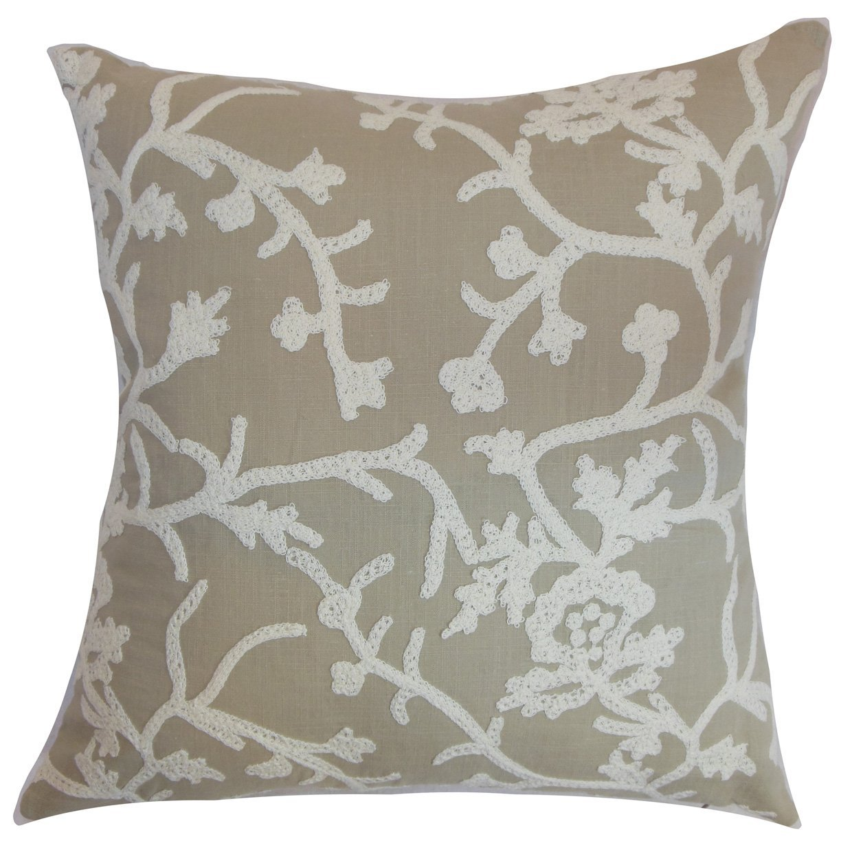 European//26 x 26 The Pillow Collection EURO-D-51131-PUMICE-C100 Pumice Paksane Floral Bedding Sham