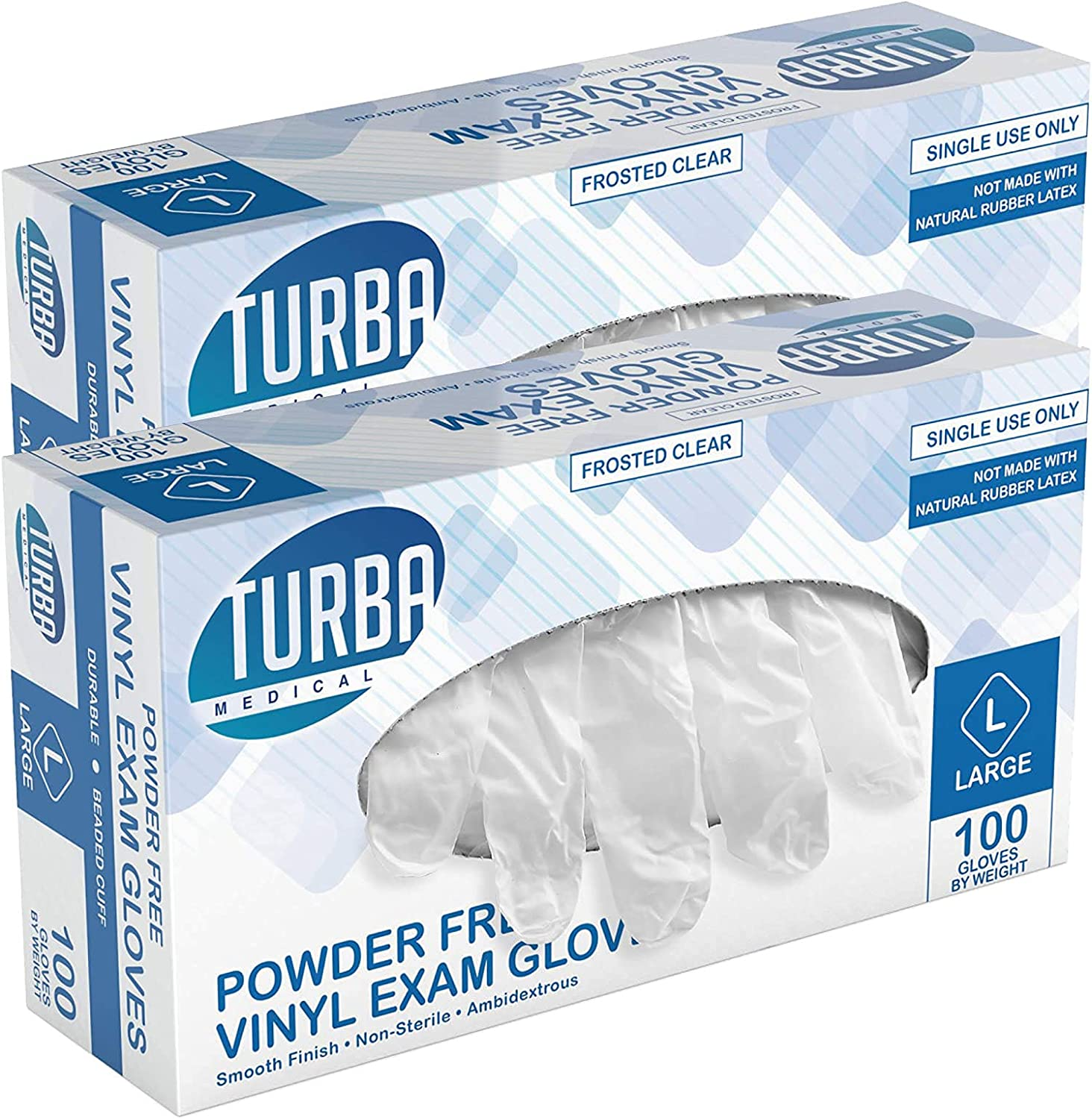 Disposable Vinyl Gloves 200 Non Sterile Powder Latex Free Glove Food Safe -Turba 2 Pack (100) - Large