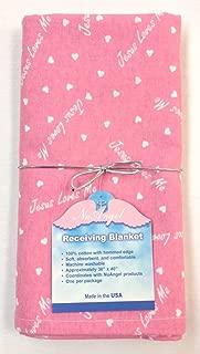 "product image for NuAngel Flannel Receiving Blanket - Bubblegum Pink""Jesus Loves Me"" Print"