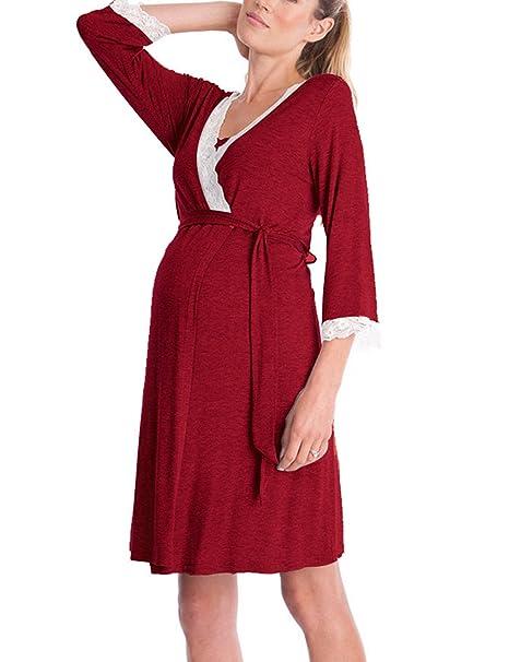 7904b4bb09b8 Lomon Vestito Premaman da Donna Camicia da Notte per Allattamento Pigiama  Camicia da Notte  Amazon.it  Abbigliamento
