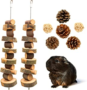 Roundler Small Animal Chew Toys, Apple Wood Bunny Pet Tooth Chew Toys, Pet Snacks Toys for Rabbits, Chinchilla, Hamsters, Guinea Pigs, Gerbils, Mini Macaws, Parrots