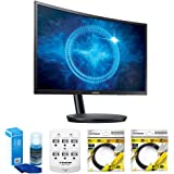 """Samsung 27"""" Black Curved LED 1920x1080 144hz Gaming Monitor–(LC27FG70FQNXZA) w/ Accessory Bundle Includes, Universal Screen Cleaner for LED TVs, 6 Outlet Wall Tap w/ 2 USB Ports, 2x 6ft HDMI Cable"""