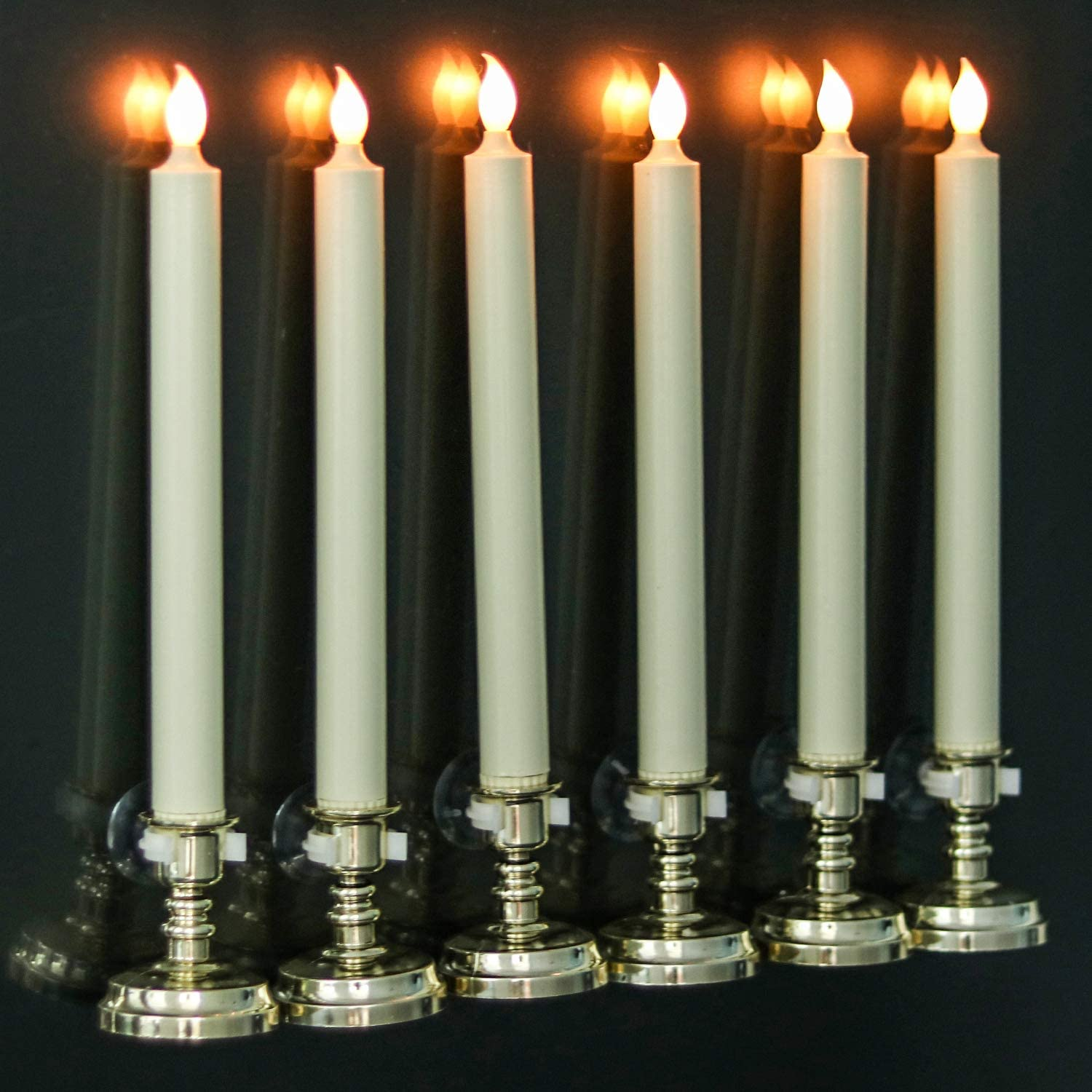 Wondise Remote Flameless Window Taper Candles with Timer and Suction Cups, Battery Operated LED Flickering Window Candles Real Wax Warm Light Christmas Decoration Set of 6(Gold Holders)