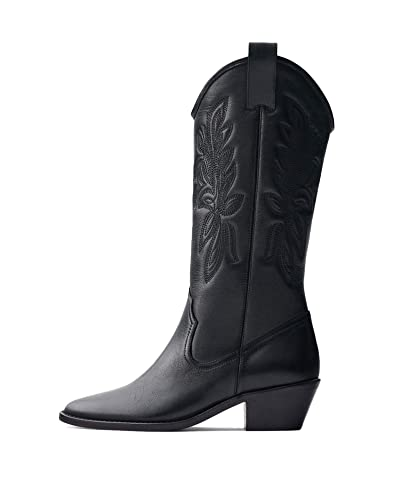 a8b61132c55f Uterque Women s Embroidered Leather Cowboy Boots 4070 051  Amazon.co ...