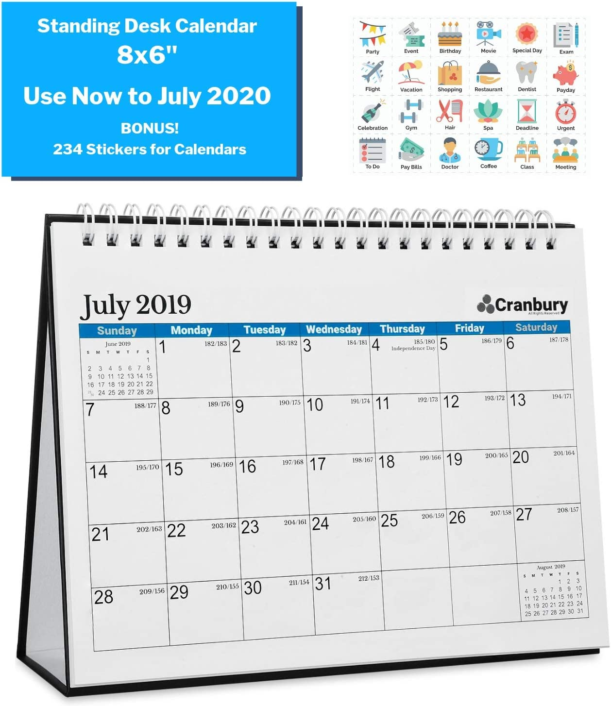 Small School Year Calendar 2019-2020 (8x6, Blue) Use to July 2020, Back to School Double-Sided Desktop Calendar, Tent Standing Easel Flip Calendar, Counter or Table Top Academic Calendars