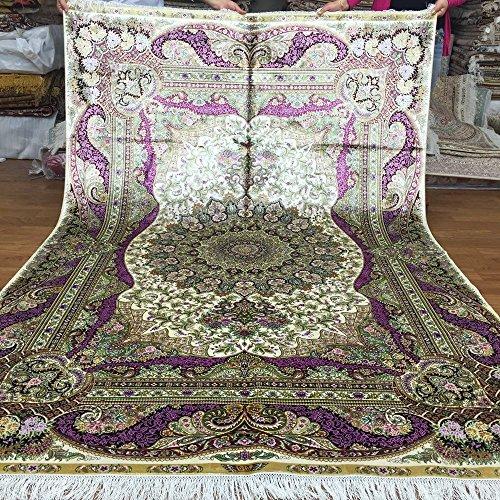 Yuchen New 5.5'x8' Original Kashmir Handknotted Silk Carpets Oriental Handmade Silk Rug