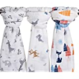 "Little Jump Baby Muslin Baby Swaddle Blankets, 47x47 (3 Pack) ""Fox & Deer & Girafe Print "" Organic Cotton Muslin Receiving Blanket for boys and girls (Fox & Deer & Girafe)"