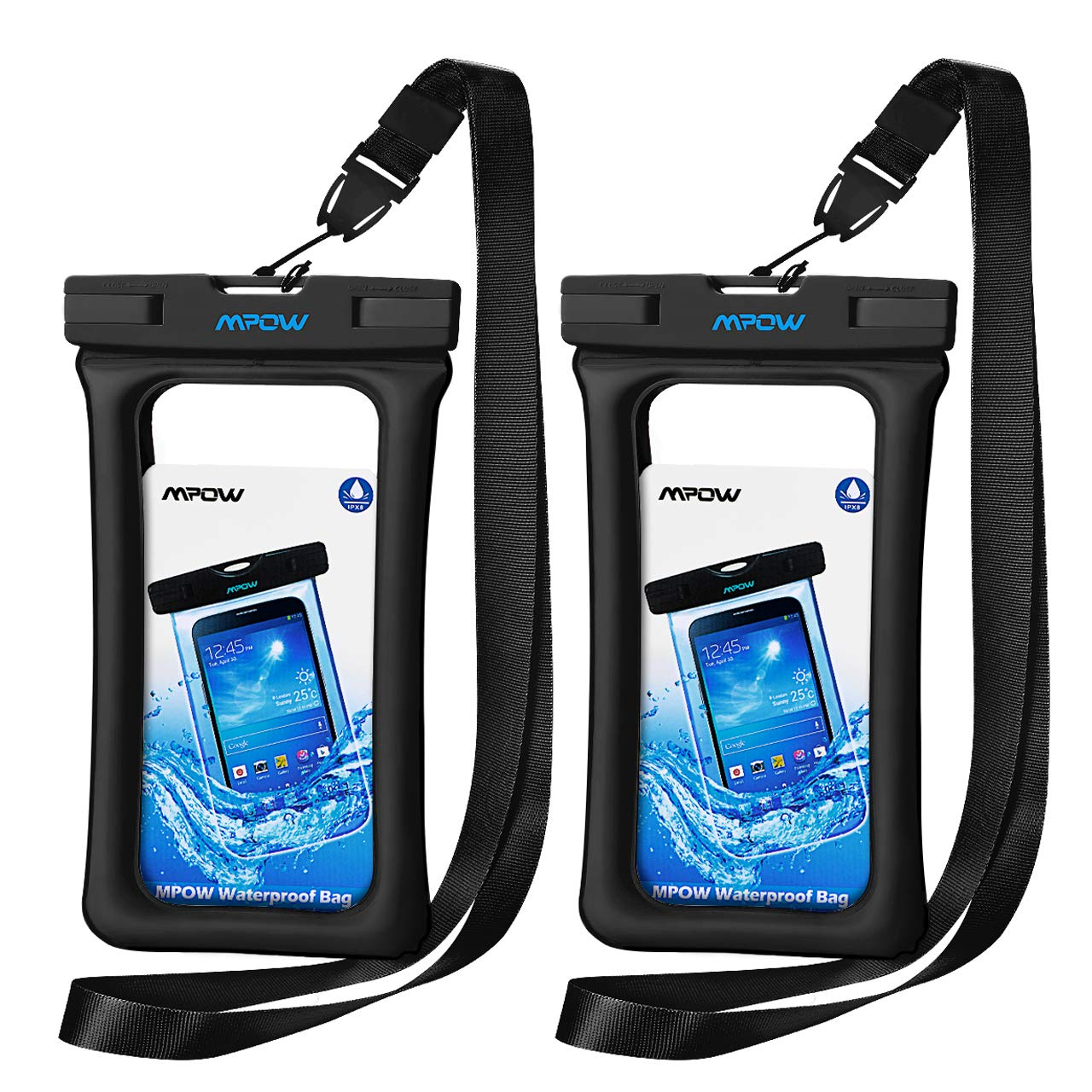 Mpow 084 Waterproof Phone Pouch Floating, IPX8 Universal Waterproof Case Underwater Dry Bag Compatible iPhone Xs Max/Xr/X/8/8plus/7/7plus Galaxy s9/s8 Note 9/8 Google Pixel up to 6.5'' (Black)