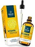 WoldoHealth I Vitamin D3 I 1.000 I.E. 25µg pro Tropfen I 50ml Hochdosiert I Basierend auf MCT-Kokosöl (Cholecalciferol)