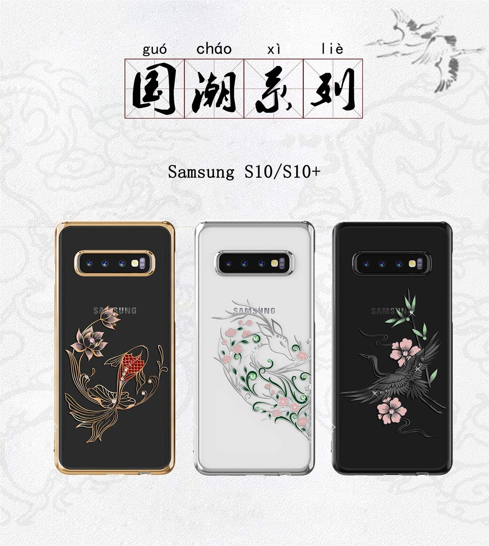Color : White, Size : S10 JJBAO Funda de Diamante Original for Samsung Galaxy S10 Plus con Cristales de Swarovski Funda for Samsung S10 Funda de TPU Transparente for PC