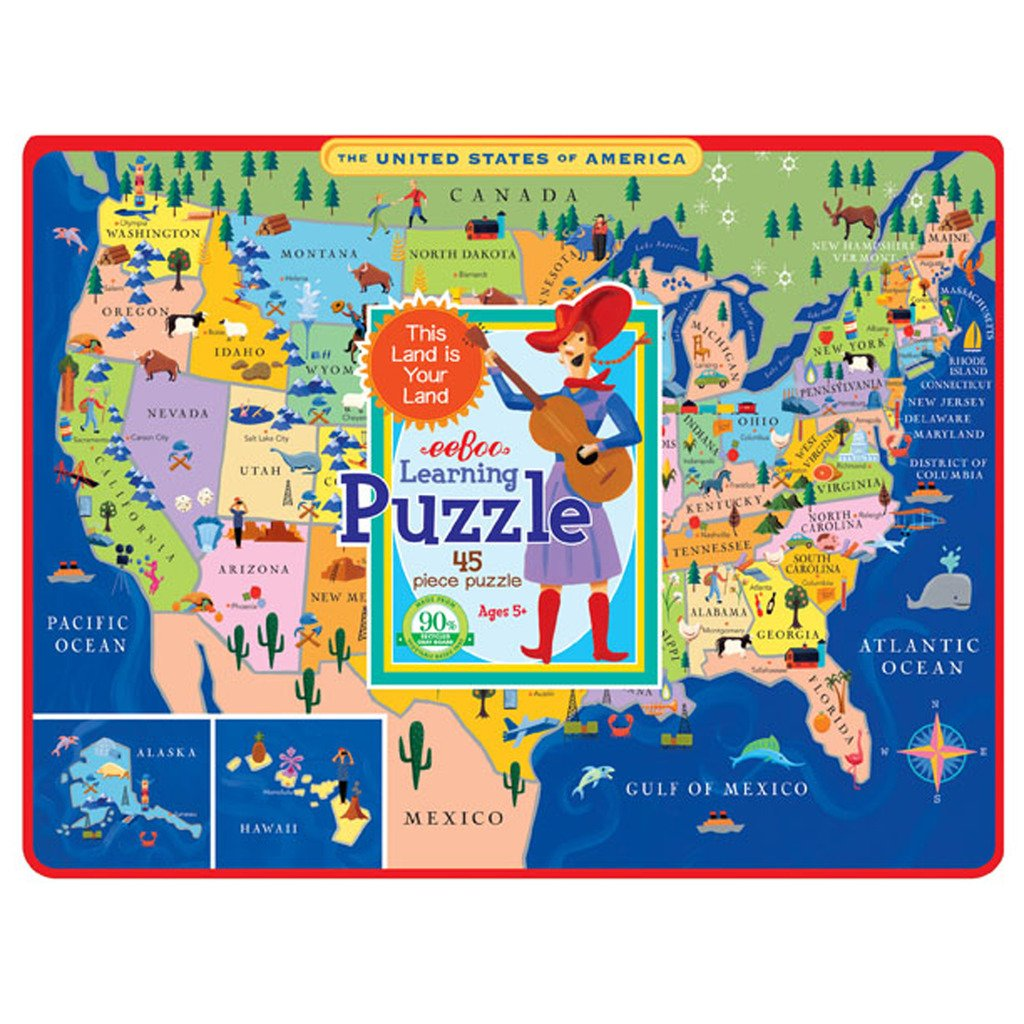 Amazoncom EeBoo United States Map Tray Puzzle  Pieces Toys - Us states map puzzle game