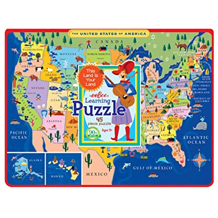Amazon.com: eeBoo United States Map Tray Puzzle for Kids, 45 pieces ...