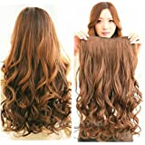 "Honeywin 21"" Remy/remi Wavy 5 Clips in Hair Extensions Beauty Hairsalon 120g for Women's Fashion One Piece Hair Packing Dark Brown"