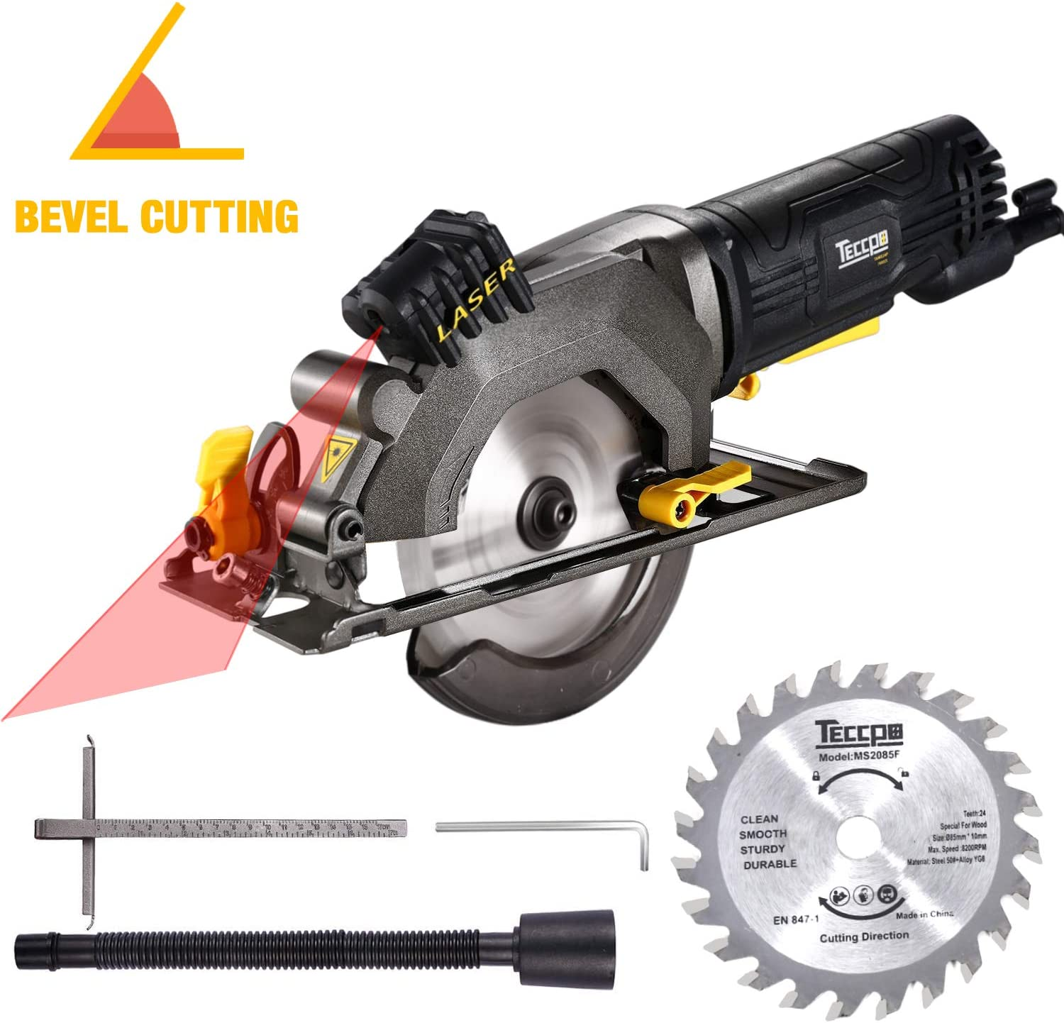 Circular Saw, TECCPO 4-1 2 3500 RPM 4 Amp Compact Circular Saw with Laser Guide, 24T Carbide Tipped Blade, Scale Ruler, Pure Copper Motor, Max Cutting Depth 1-11 16 90 , 1-1 8 45 – TAMS24P
