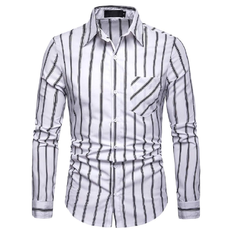 SportsX Mens Fashionable Striped Long-Sleeve Fit Lapel Button Top Shirt