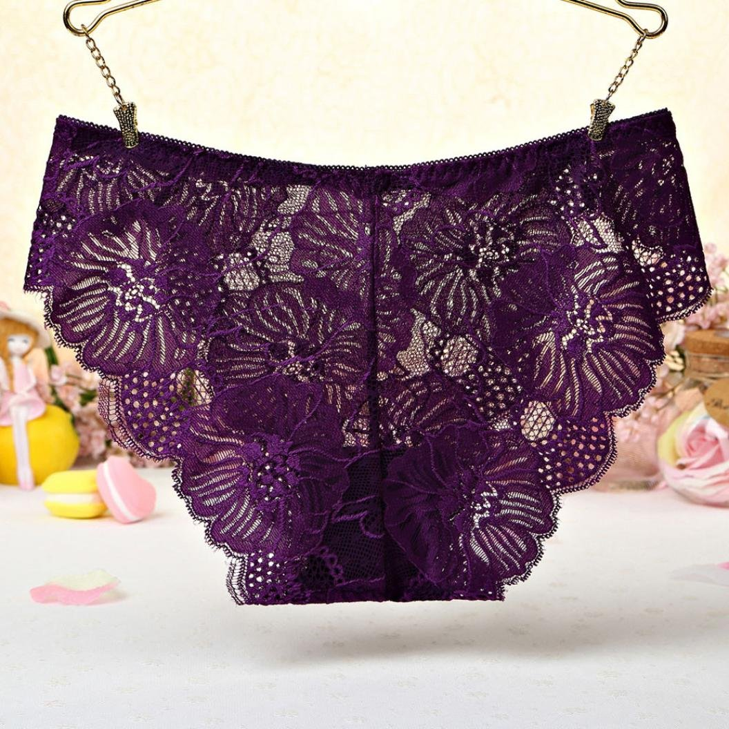 ManxiVoo Women's Floral Lace Briefs Panties Ladies Underwear Underpants Thongs G-String (Free Size, Purple) by ManxiVoo (Image #6)