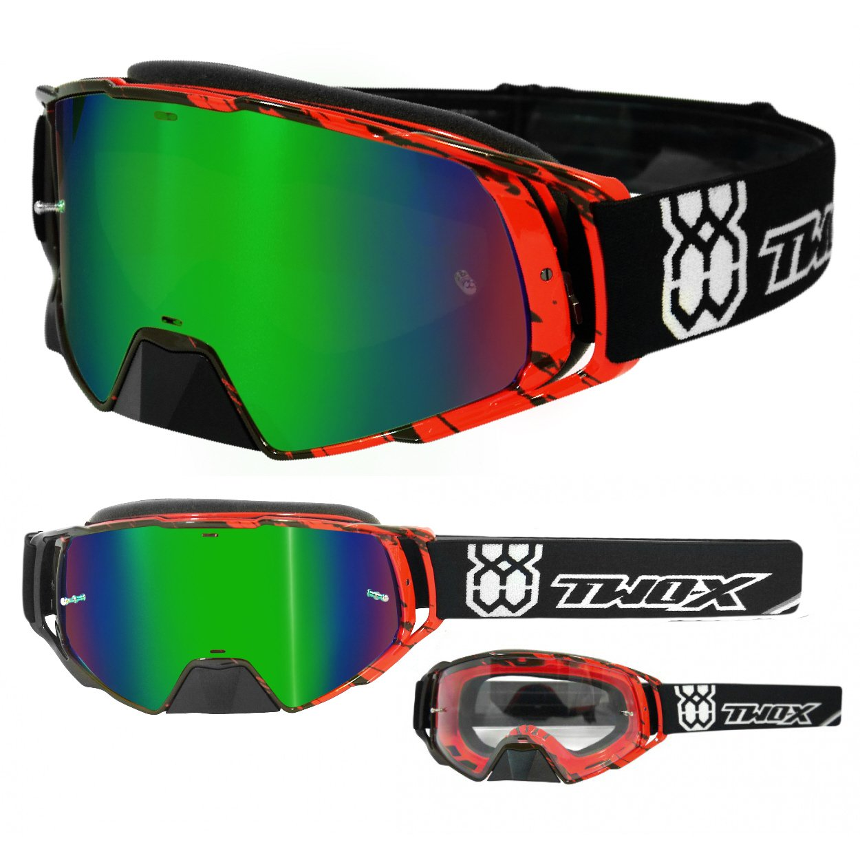 TWO-X Rocket Crossbrille Crush schwarz rot Glas verspiegelt gr/ün MX Brille Nasenschutz Motocross Enduro Spiegelglas Motorradbrille Anti Scratch MX Schutzbrille Nose Guard