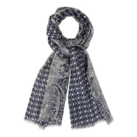 Les Poulettes Bijoux Echarpe 100% Laine Motifs Cachemire Bleu Creme ... 187a33567de