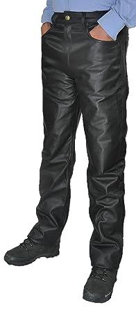 Lederhose lang Herren Damen Fuente Lederjeans- Echtleder in festem Aniline, Lederhose  Jeans 501 Schwarz aab74fbfb2