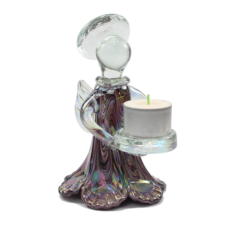 Violet Lustrous Rouge nacr/é Ange porte-bougie en verre 16 cm