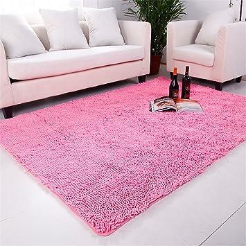 Amazon.com: Hoomy Modern Microfiber Floor Runner Pink Solid Flffy ...