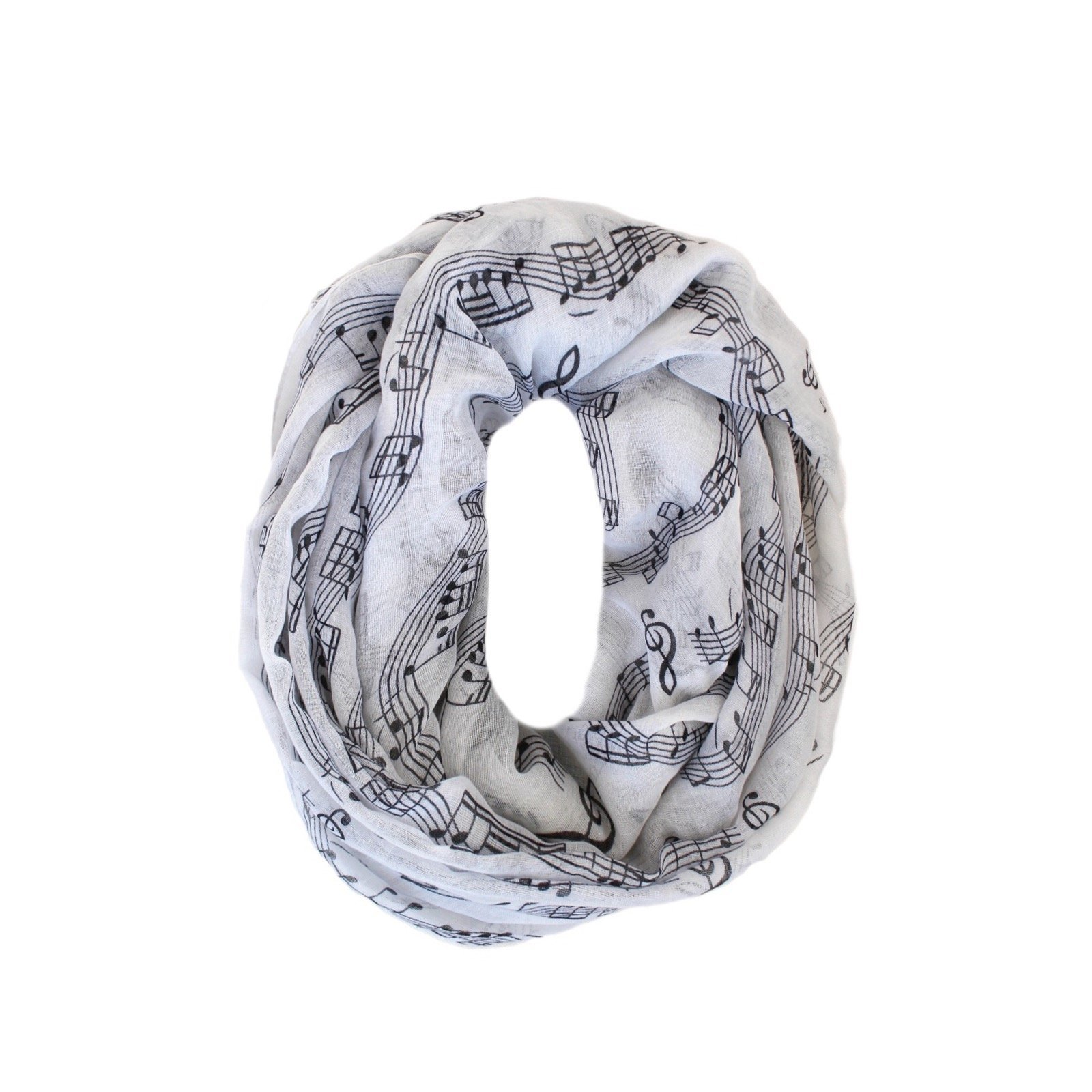 KnitPopShop Music Note Infinity Loop Scarf for Women in the Summer (White)