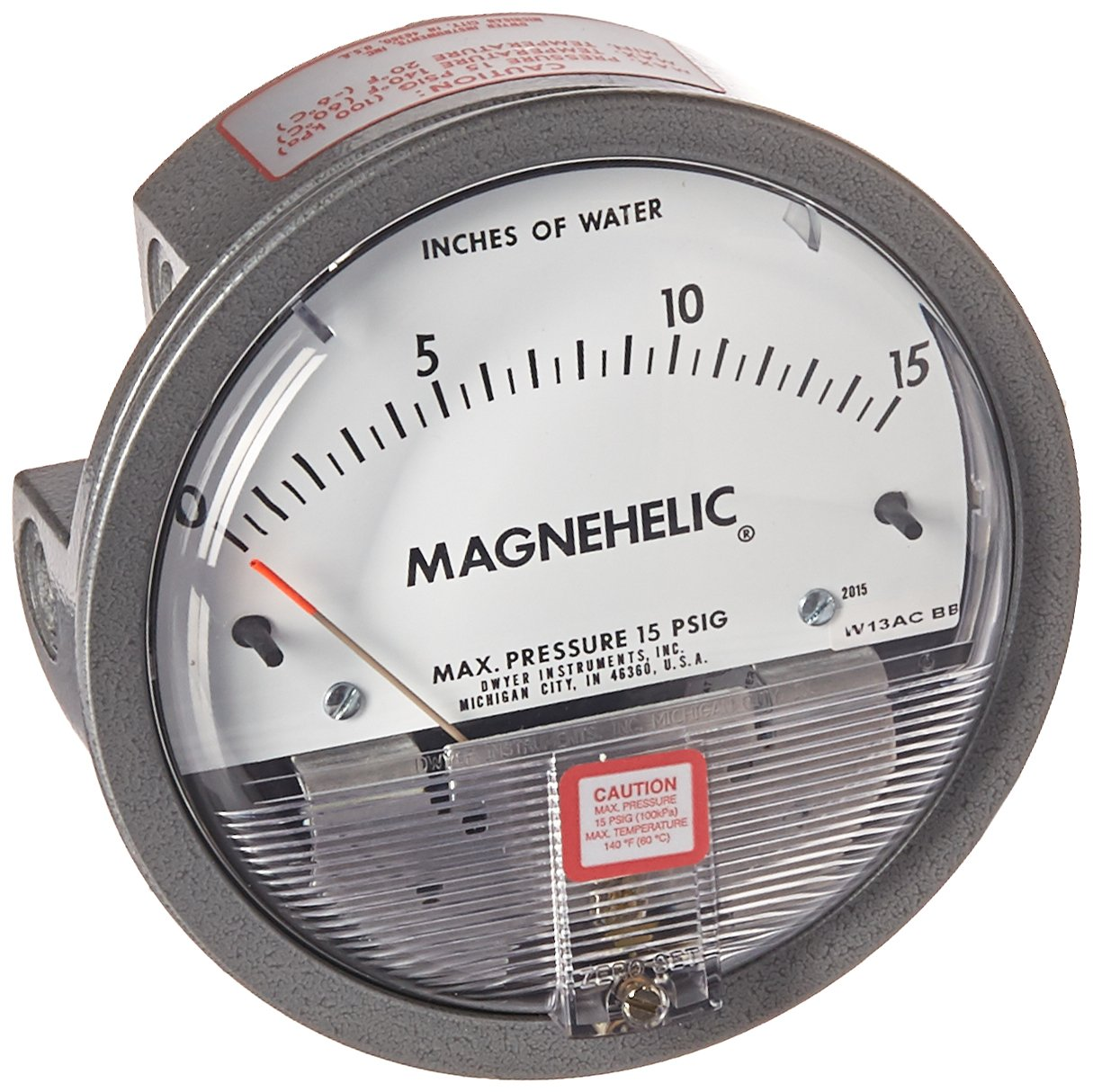 Dwyer 6846269 2015 Magnehelic Differential Pressure Gauge, Type, 0 to 15'' WC