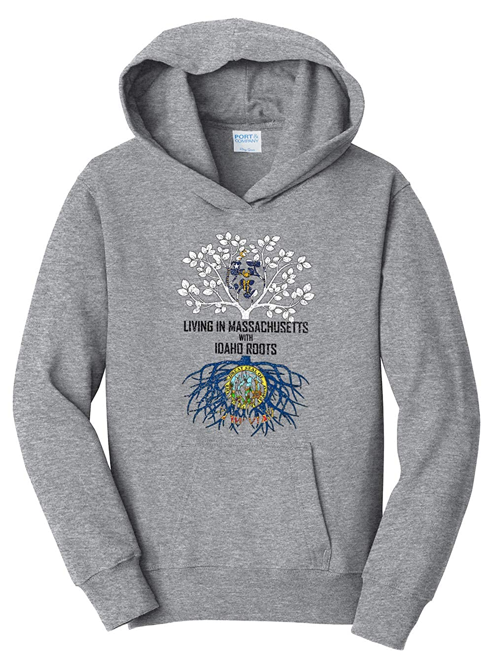 Tenacitee Girls Living in Massachusetts with Idaho Roots Hooded Sweatshirt