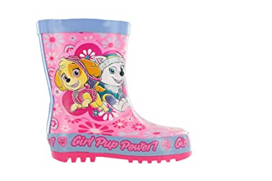 2ff1112bdc17d6 Amazon.com  Girls Paw Patrol Pink Floral Thick Rubber Wellies Boots ...