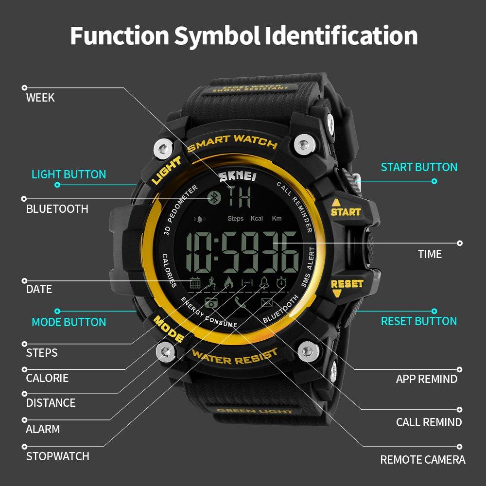 Vemupohal Reloj Inteligente LED Digital Para Hombre SmartWatch 50M Resistente al Agua Deportivo Estilo Milita Reloj de Pulsera llamada SMS Notificación LED ...