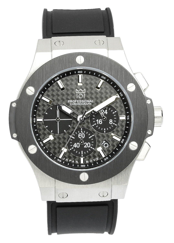 [HYAKUICHI 101] 腕時計 ウォッチ 100m防水 クロノグラフ 日付表示 ラバーベルト ブラック×シルバー メンズ B01GE6MZEM