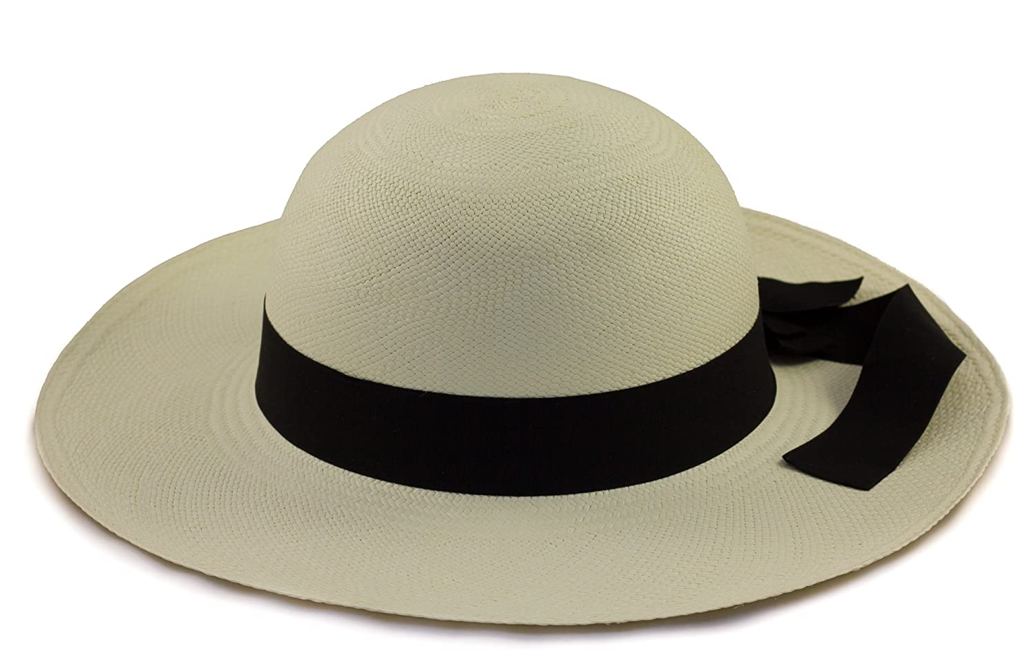 b3dd9785c Tumi Ladies Panama Hat - Cream with Black Band – Rollable/Foldable –  Handwoven from natural fibres.