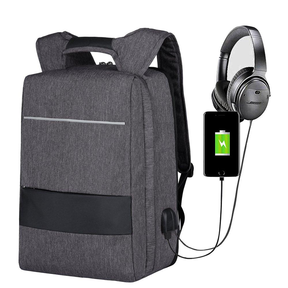 Mbuynow Sac à Dos pour Ordinateur Portable 17.3 Pouces Sac à Dos Antivol1806V Slim Imperméable avec Port de Charge USB et Port de Casque Détachable Sac à Dos PCpour Femmes et Hommes-Gris