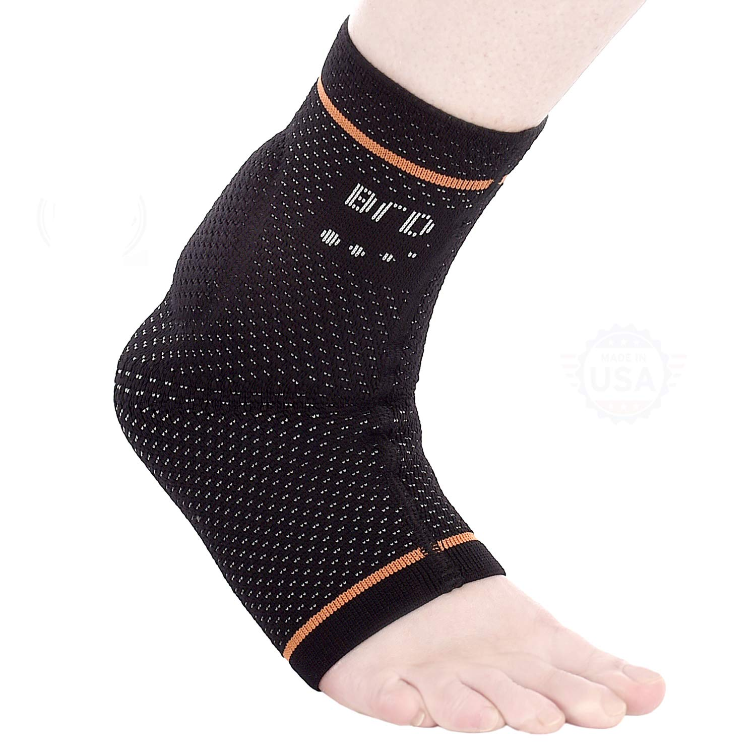 BRD Sport Achilles Compression Ankle Brace - FDA Registered Brace Offers Breathable, Comfortable Recovery from Pain, Swelling, Tendonitis (Black with Orange Accent Stripe, M [8.25''-9'']) by BRD Sport