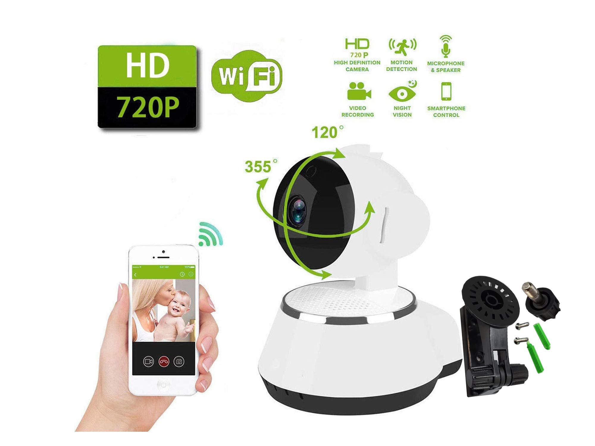 HD 720p Wireless WiFi IP Camera Webcam Baby Pet Monitor CAM Pan Remote Home Security - Two-Way Audio & Night Vision with Camera Mount (Retail Packing) by Miko