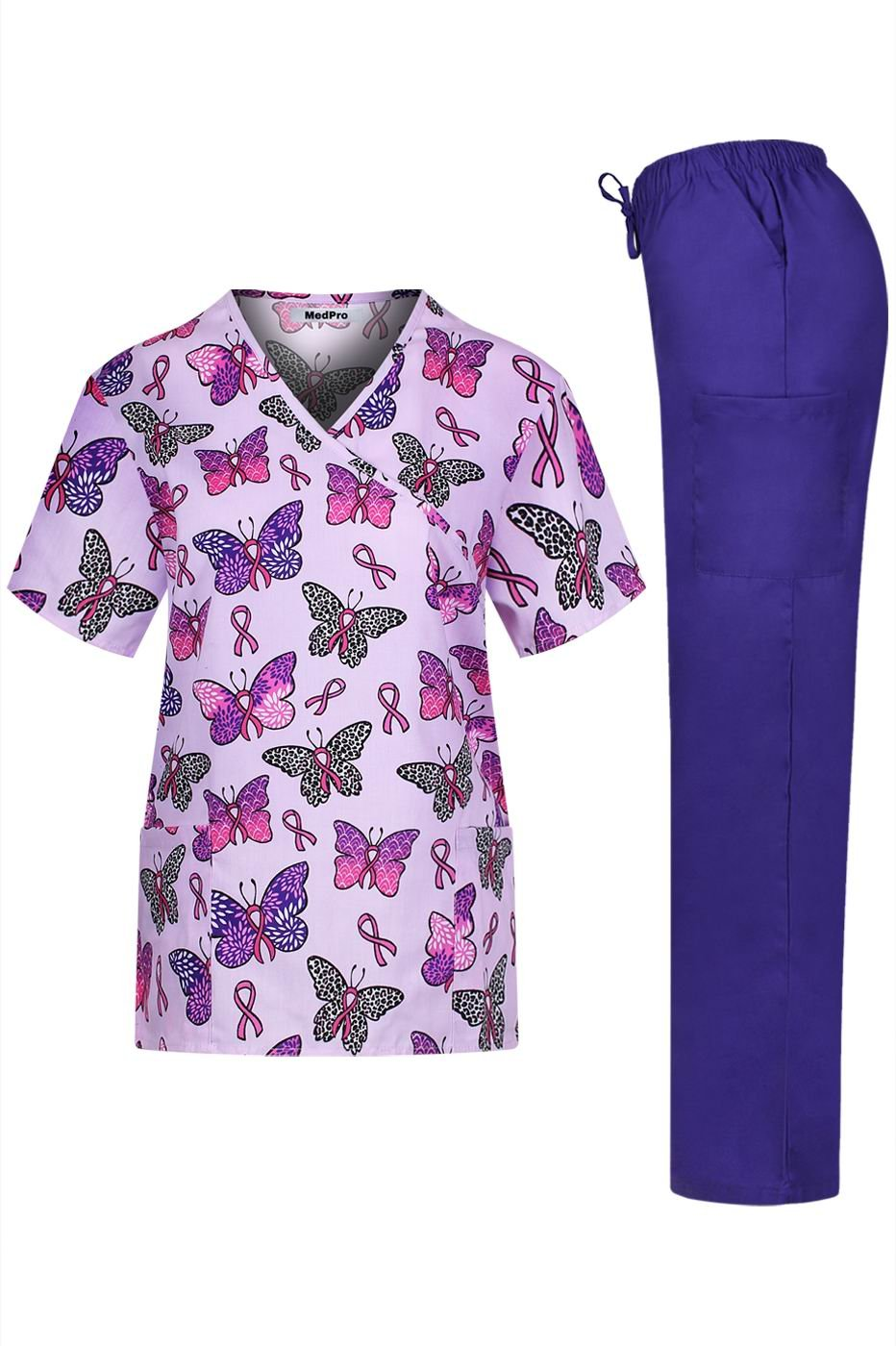 MedPro Women's Medical Scrub Set with Printed Top and Cargo Pants Pink Purple L by MedPro (Image #1)