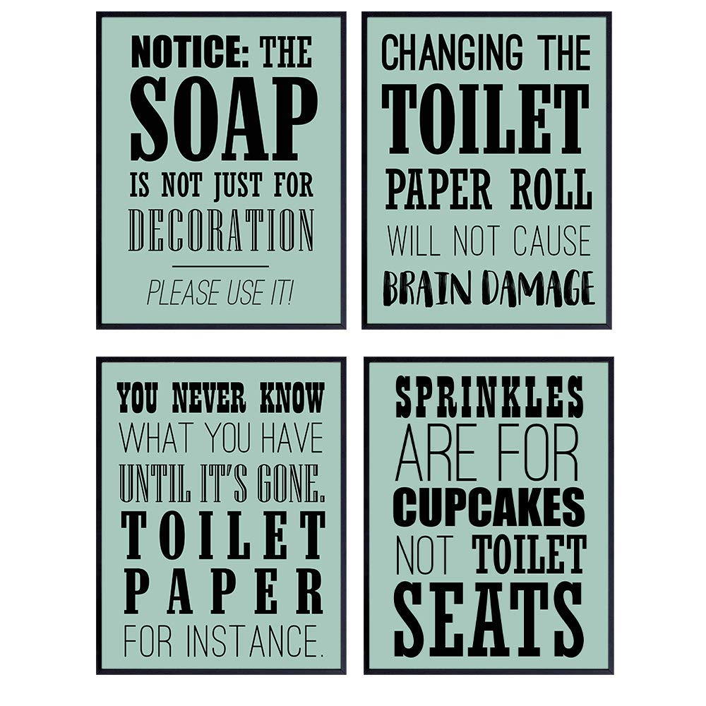 Funny Bathroom Wall Art Decor Print Set - 8x10 Rules Quotes Sayings Graphic Posters - Unique Unframed Artwork Decoration Accessories for Bath - Teal Mint