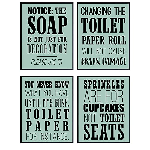 Funny Bathroom Framed Wall Art Never Know What You/'ve Got Poster Décor