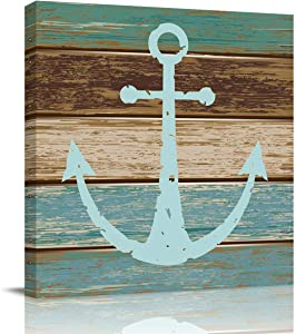 Abstract Wall Art on Canvas for Bedroom Living Room Bathrooms Kitchen,Vintage Anchor Rustic Wood Board Pattern Artworks Office Home Decor,Stretched by Wooden Frame,Ready to Hang,12x12in