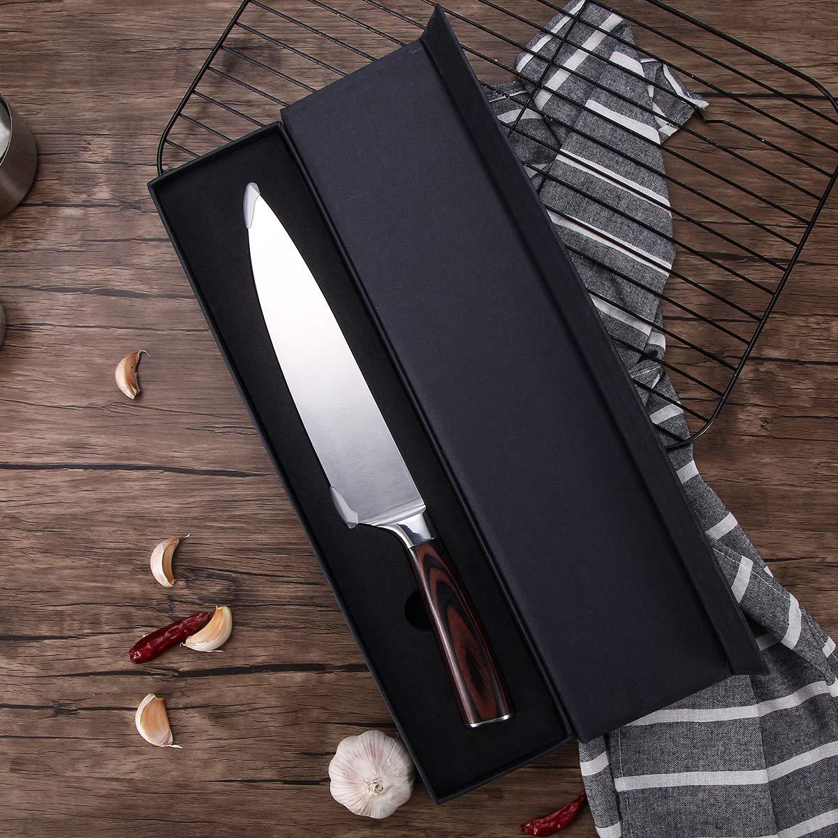 Kochmesser 20cm, CUSIBOX Küchenmesser aus rasiermesserscharfem Hartstahl, Profi Chefmesser, Scharfe Fleischmesser, Allzweckmesser mit Ergonomischer Holz-Griff