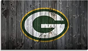 MIAUEN Green Bay Packers Wall Art Poster Framed Prints Canvas Picture Sports Football Home Decor Decoration Living Room Bedroom Game Room Paintings Ready to Hang(28''Wx16''H)