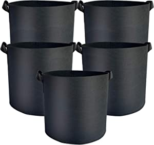 Ferfil Grow Bags 10 Gallon 5 Pack, Fabic Potato Grow Bag for Vegitables in Garden Aeration Plant Growing Pots with Handles in Heavy Duty Nonwoven