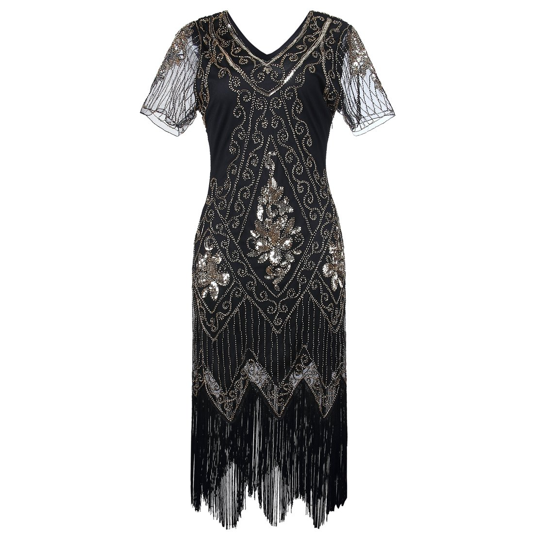 Black Flapper Dresses, 1920s Black Dresses JaosWish Gatsby 1920s Flapper Dress Women Vintage Sequin Fringe Beaded Art Deco Fancy Dress with Sleeve for Party Prom £38.99 AT vintagedancer.com