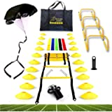 Big B Pro Sports Speed Agility Training Set - Includes Ladder, 20 Cones with Holder, Running Parachute, Jump Rope…