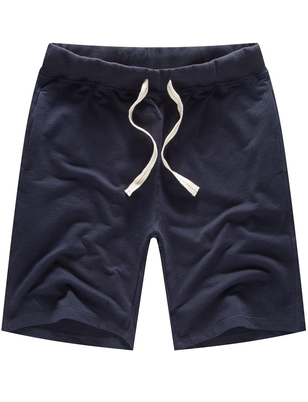 DAVID.ANN Men's Cotton Workout Gym Short Casual Classic Fit Bodybuilding Training Joggers,Dark Blue,Large