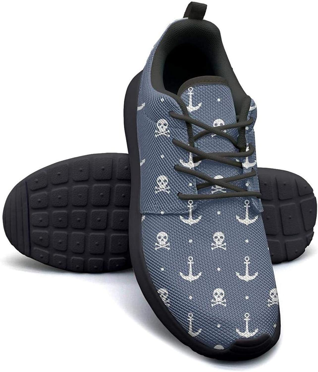 Anchors and Skulls Blue Womans Skateboard Casual Shoes Sneakers Cute Sneakers
