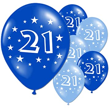 20 Light And Dark Blue 21st Birthday Party Balloons
