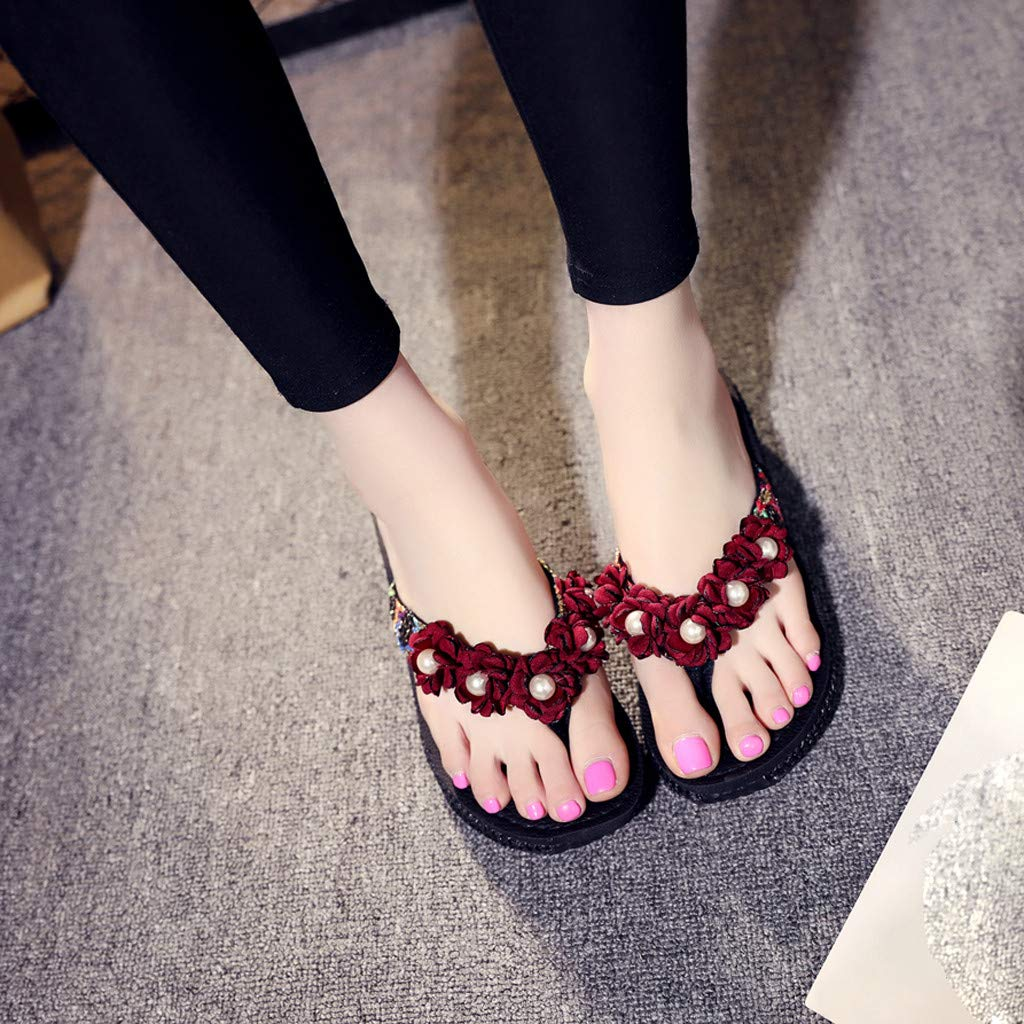 Opinionated Summer Fashion Ladies Pinch Anti-Skid flip Flops Beach Slippers lace Beaded Casual Versatile Slippers